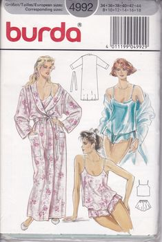 Burda 4992 Misses Lingerie Camisole Wide Leg Panties and Shawl Collar Robe Pattern Womens Sewing Pattern Size 8 10 12 14 16 18 UNCUT Burda Sewing Patterns, Plus Size Sewing Patterns, Vintage Sewing Patterns, Clothing Patterns, Lingerie Patterns, Sewing Lingerie, Vintage Lingerie, Nightgown Pattern, Vintage Nightgown