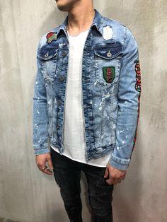 2f7e9c27ce0 Printed Blue Denim Jacket A58 Streetwear Denim Jacket