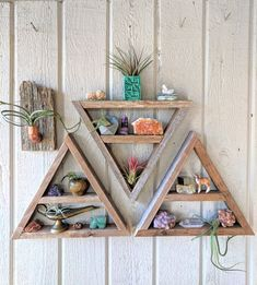 @BotanicalWare△ Triangle Shelves · reclaimed wood shelves · crystal display shelf