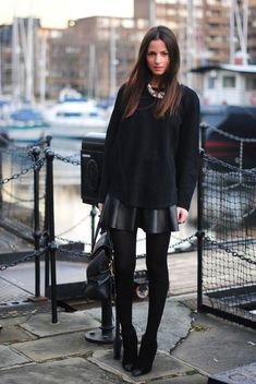 """Black on Black.  A skater skirt, trendy, but classy """"put together"""".  I am over 55, and would wear this"""
