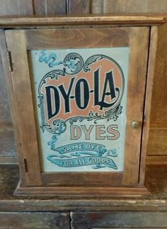 EARLY ANTIQUE OLD PRIMITIVE WOODEN DYOLA DYE CABINET GENERAL STORE DISPLAY AAFA