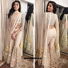 Pernia Qureshi in off-white sharara designed by Vineet Bahl Pakistani Wedding Dresses, Indian Wedding Outfits, Pakistani Outfits, Indian Outfits, Western Outfits, Sharara Designs, Indian Gowns, Indian Attire, Indian Wear