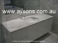 Marble vanity top Marble Vanity Tops, Fireplace Hearth, Bbq Area, Carrara Marble, Granite, Sink, Bench, Home Decor, Sink Tops