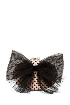RED Valentino Mesh Bow Applique Clutch