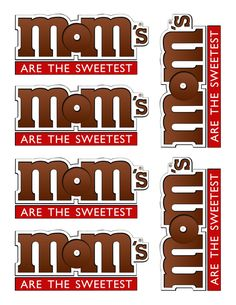 M&Ms for MOM...free printable. (Kinzie's Kreations)