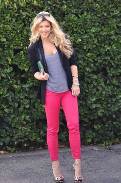 black and gray with hot pink +leopard shoes...like!