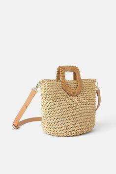 ZARA - Female - Woven paper basket bag - Natural - M Paper Basket Diy, Paper Basket Weaving, Basket Crafts, Diy Paper, Weaving For Kids, Hand Weaving, Raffia Bag, Construction Paper Flowers, Basket Drawing