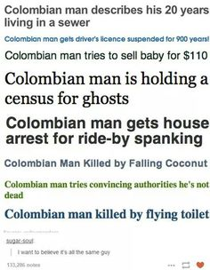 I believe it is the same man, and has been killed by a calling coconut, has to convince authorities he's not dead, then is killed by a flying toilet.