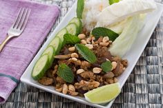 Laotian Larb Gai with Sticky Rice, Peanuts & Mint. Visit https://www.blueapron.com/ to receive the ingredients.