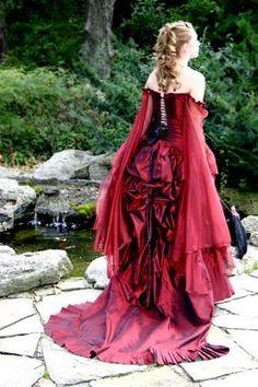 bustled dress.