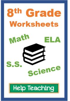 Printable worksheets for 8th grade in math, science, ELA, social studies, physical education, art, music, and more. #eighthgrade #eighthgraderesources 8th Grade Math Worksheets, Homeschool Worksheets, Spelling Worksheets, Social Studies Worksheets, Printable Math Worksheets, Science Worksheets, Vocabulary Worksheets, Homeschool Curriculum, 8th Grade Ela