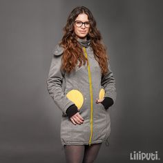 Liliputi® 4in1 Babywearing Mama Coat - Grey-Yellow Maternity Coat, Grey Yellow, Babywearing, Simple Dresses, Gray Yellow, Simple Gowns, Infant Clothing, Toddler Outfits, Baby Wearing
