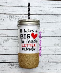 Teacher Glitter Mason Jar Tumbler // by GeorgiaGraceBoutique