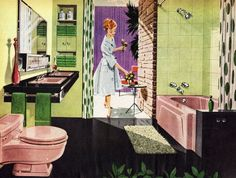 A 1950s pink and green bathroom.