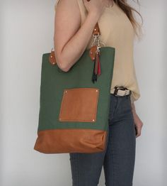 Large Army Canvas & Vintage Leather Tote