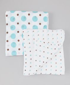 Take a look at this Blue & Brown Polka Dot Organic Swaddling Blanket Set by Bambino Land on #zulily today!