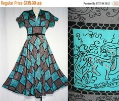 Size 4 Wonderful 1940s Turquoise Jungle Print by vintagevixen