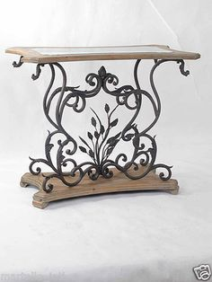 Distressed Wood Iron Console Table Vintage Antique Glass Top New Free Shipping | eBay