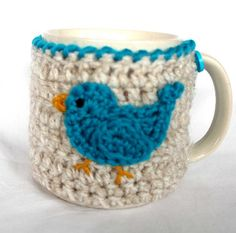 Mug Cozy Cup Cosy Mug Warmer Crochet Blue Bird by CageFreeFibers
