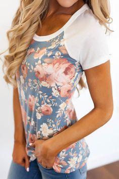 Blue Floral Baseball Tee - Dottie Couture Boutique