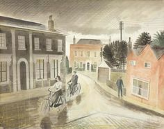 "Village Street"", by Eric Ravilious, actually Falcon Square in Castle Hedingham, Essex"