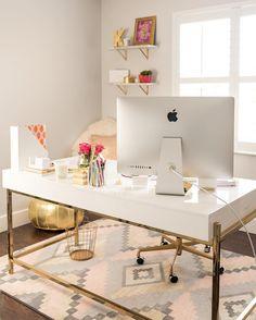 White and gold desk More