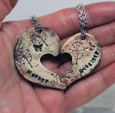Mother and daughter pendants Butterfly and by GirlwithaFrogTattoo