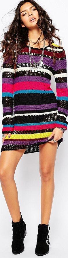 Sunshine Soul Mix Colour Stripe Knit Dress