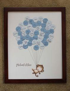 Una bonita idea para que tus invitadas te dejen mensajes en tu Baby Shower...y después lo puedes transformar en cuadro!!