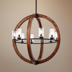 "Grand Bank 28"" Wide Double Wood Chandelier by Kichler"
