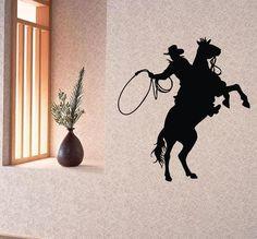 Wall Decals Vinyl Decal Sticker Art Mural Decor Man Cowboy Riding a Horse Kj728 #CAT #MuralArtDecals