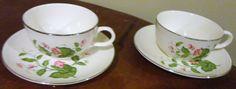 VINTAGE RHYTHM HOMER LAUGHLIN # B56N PINK FLORAL 2 TEA CUP & SAUCER SET