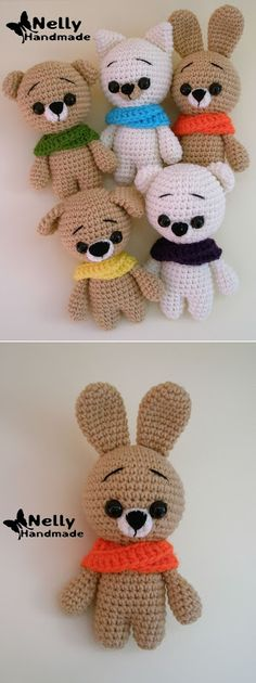 Amigu room: вяжем амигуруми: Малыши мишка, зайка и котик