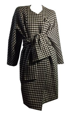 dc26cb295e15 Black and White Houndstooth Cocoon Style Woo Coat with Sash Scarf Coat  circa 1980s Yeohlee