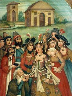Good times in Persia :) (Qajar-era painting from a museum in Shiraz) Middle Eastern Art, Persian Motifs, Persian Culture, Iranian Art, Orient, Angel Art, Calligraphy Art, Islamic Art, Pattern Art