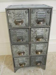 Vintage Industrial Style Metal Chest of Drawers Cabinet ~ Metal Storage Chest | eBay