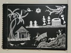 Warli art with Silver pen on a black carbon paper 170 gsm. Carbon Paper, Silver Pen, Carbon Black, Black Paper, Art School, Culture, Cards, Painting, Creative