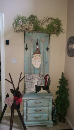 Hall tree from old end table and door