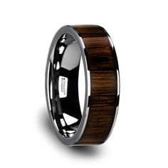 Wedding Bands Chromia Flat Tungsten Wedding Band with Black Walnut Wood Inlay Tungsten Carbide Wedding Bands, Titanium Wedding Rings, Wedding Rings Solitaire, Engagement Rings, Halo Rings, Wedding Engagement, Mens Wooden Wedding Bands, Custom Wedding Rings, Wedding Men