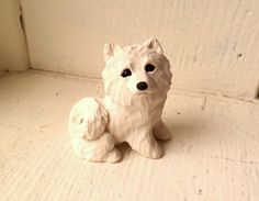 Samoyed Dog Sculpture Polymer Clay Mini Hand sculpted by by theWRC