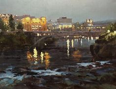 BoldBrush Painting Competition Winner - September 2015 | Riverfront Nocturne by Rachel A Pettit