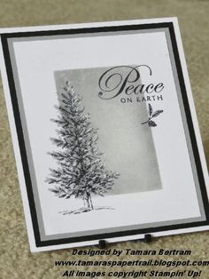 Stampin' Up! ... handmade Christmas gree from Tamara's Paper Trail ... shades of gray ... Lovely  as a Tree fir tree ... cool and elegant ...