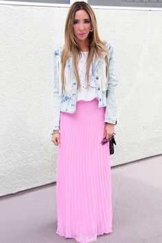 I've been searching for a pleated maxi in a bright color for SOOOOOO long! The colors on this site are fantastic! PLEATED LONG SKIRT - Bubble Gum - Haute & Rebellious