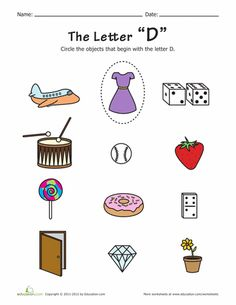 Worksheets: Things that Start with D!