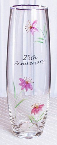 Fenton Anniversary 25th Anniversary Bud Vase by Fenton. $14.96. 9.25 Inches Tall. From Fenton International Artware. Each flower is hand cut into the glass. Precious metal lettering is applied and the design is handpainted and fired to create the brilliantly sparkling image