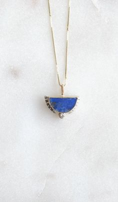 Diamond and Lapis Half Sol Necklace - Spartan Shop