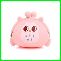 Usstore Women Owl Silicone Jelly Wallet Change Bag Key Pouch Coin Purse (Pink) - Wallets (*Amazon Partner-Link)