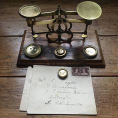 Antique Brass Postal Scales Victorian Scales Postal Scales