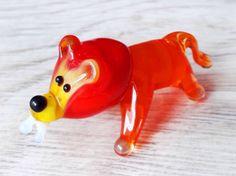Small glass lion figurine hand blown lion animals by BeautyGlassUA
