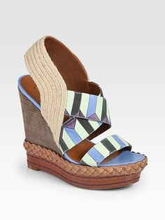 Boutique 9 - Isabella Printed Canvas & Leather Slingback Wedge Sandals - Saks.com